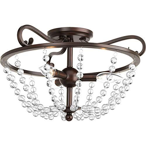 (Progress Lighting P3758-20 Bliss 17-in W Antique Bronze Clear Glass Semi-Flush Mount Light)