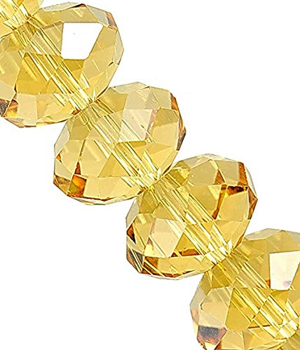 Linpeng 440pcs 4x6mm Faceted Rondelle Crystal Beads for for Jewelry Making, Citrine