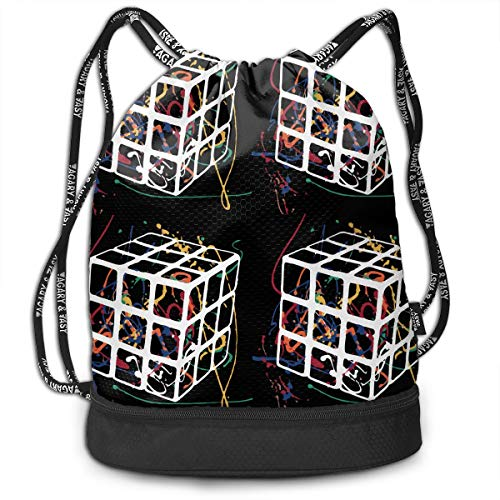 Drawstring Backpack Rubiks Cube Rucksack