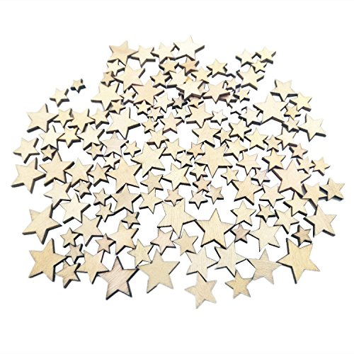 WINGONEER 200pcs Mixed Size Natural Wood Color Little Star Shaped Wooden Crafting Sewing Scarpbooking DIY Buttons ()