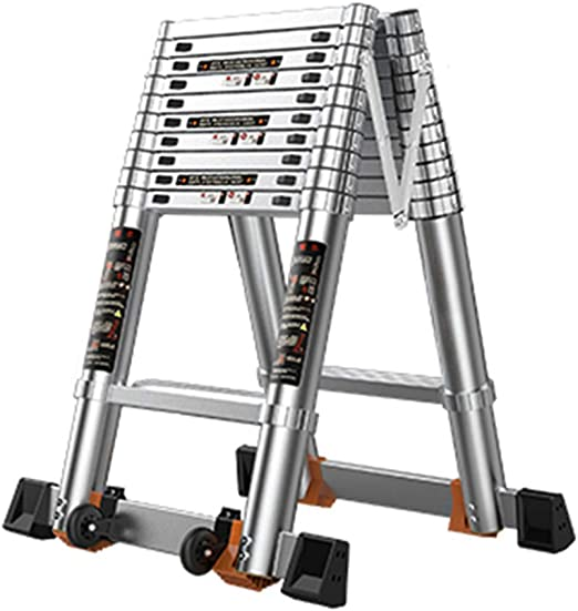 Escalera extensible/ Escalera telescópica Escalera telescópica para áticos Plegables de Aluminio para Servicio Pesado, 7 Step 2.4m, Soporte 400kg: Amazon.es: Hogar