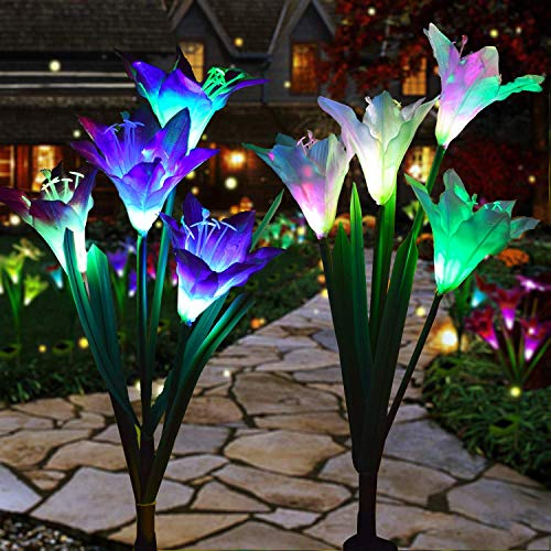 Outdoor Solar Lights – Decorative LED Flowers – Pack of 2 Solar Lilies Patio Décor – Purple & White Solar Powered Garden…