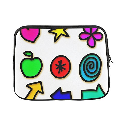 Computer Icon Wheeled Bag (Design Custom Icons Symbols Shapes Set Collection Gel Pictogram Sleeve Soft Laptop Case Bag Pouch Skin For Macbook Air 11