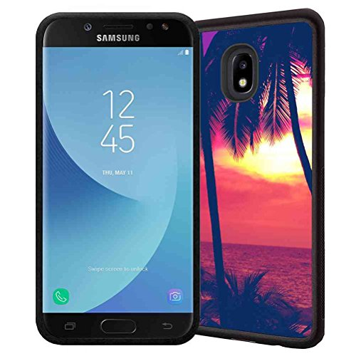 Sunday Set Palm (Samsung Galaxy J3 2018, J3V J3 V 3rd Gen,Express Prime 3, J3 Star, J3 Achieve, Amp Prime 3 Case, ABLOOMBOX Tropical Palm on Ocean Beach at Vivid Sunset Pattern, Shockproof TPU Bumper Case Cover)