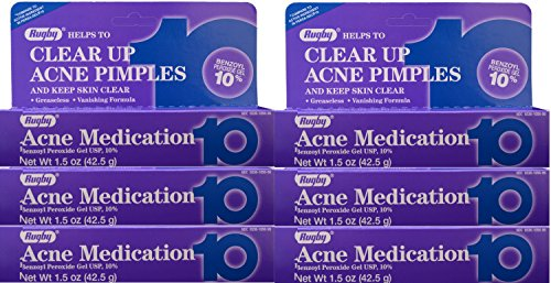 Benzoyl Peroxide 10% Generic for Oxy-10 Balance Acne Treatment Medication Maximum Strength Gel 1.5oz 6 PACK