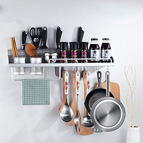 FociPow Kitchen Wall Pot Rack, Aluminum Wall Hanging Shelf Cookware Organizer Wall Mounted Pot Pan Rack With 8 Hooks, 4 Knife Slots, and 2 Utensil Cups Fit for Kitchen Restaurant Bar Bathroom (Wall Kitchen Organizers)