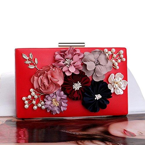 Pochette Soirée Main Cadeau Sac Fleur Bandoulière Femmes Prom À Red Enveloppe Perle Clubs Mariage Pour Dames Nuptiale w1dqdI