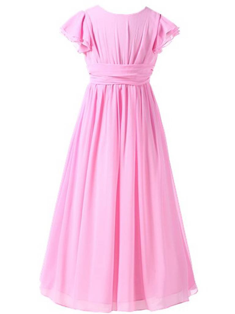 Happy Rose Flower Girl's Dress Prom Party Bridesmaid Dress Long Pink 8