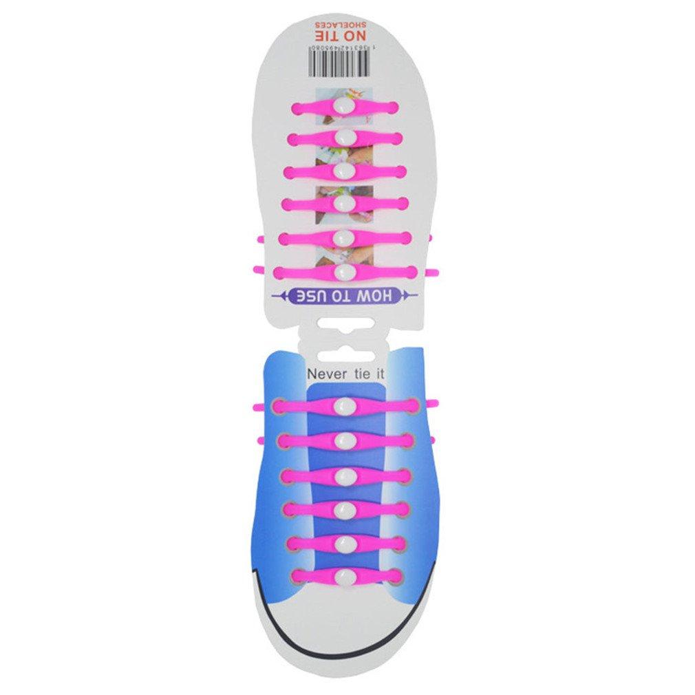 12Pcs/Set Unisex Athletic Running Lazy Shoelaces Elastic Silicone Shoe Lace Pink