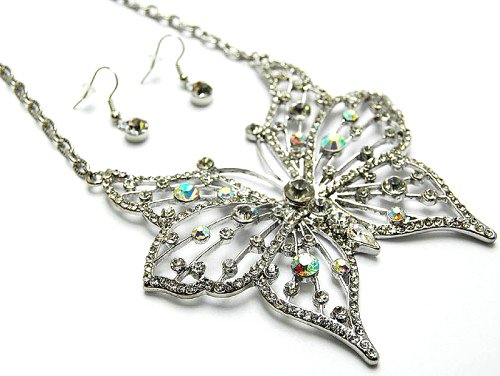Diamante papillon Ensemble collier et boucles d'oreille–Bijoux Fantaisie