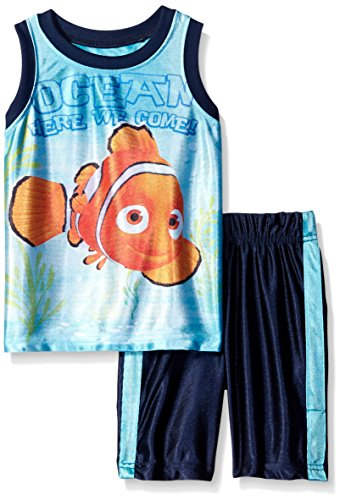 Disney Little Boys' Toddler 2 Piece Nemo Finding Dory Dazzle Muscle Top and Short Set, Blue, 2T