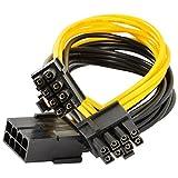 JBingGG8 Pin to 2x 8 Pin (6+2) PCI Express Power Adapter Y-splitter Cable 1 Feet ( 30 cm ) (8 pin to dual 8(6+2) pin)