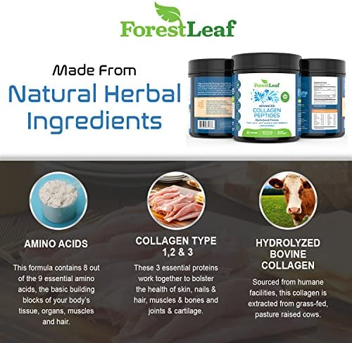 Advanced Hydrolyzed Collagen Peptides - Unflavored Protein Powder - Mixes Into Drinks and Food - Pasture Raised, Grass Fed - for Paleo and Keto; Joints and Bones - 41 Servings Collegen 6