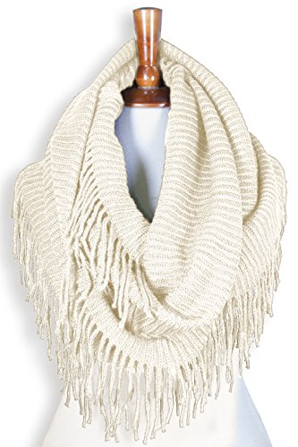 Basico Women Winter Warm Knit Infinity Scarf Tassels Soft Shawl Various Colors G70 Ivory