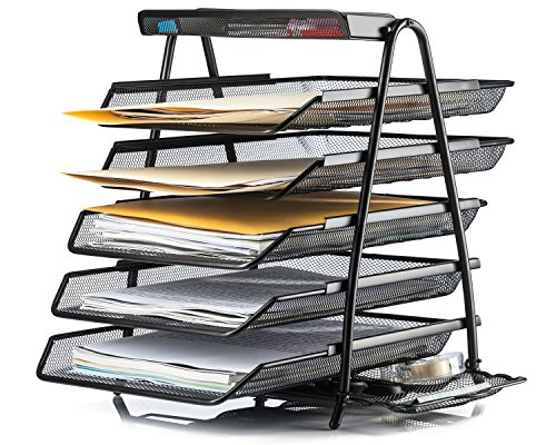 Halter Steel Mesh Desktop 5-Tier Shelf Tray Organizer with Supply Tray - Letter-Size - Black
