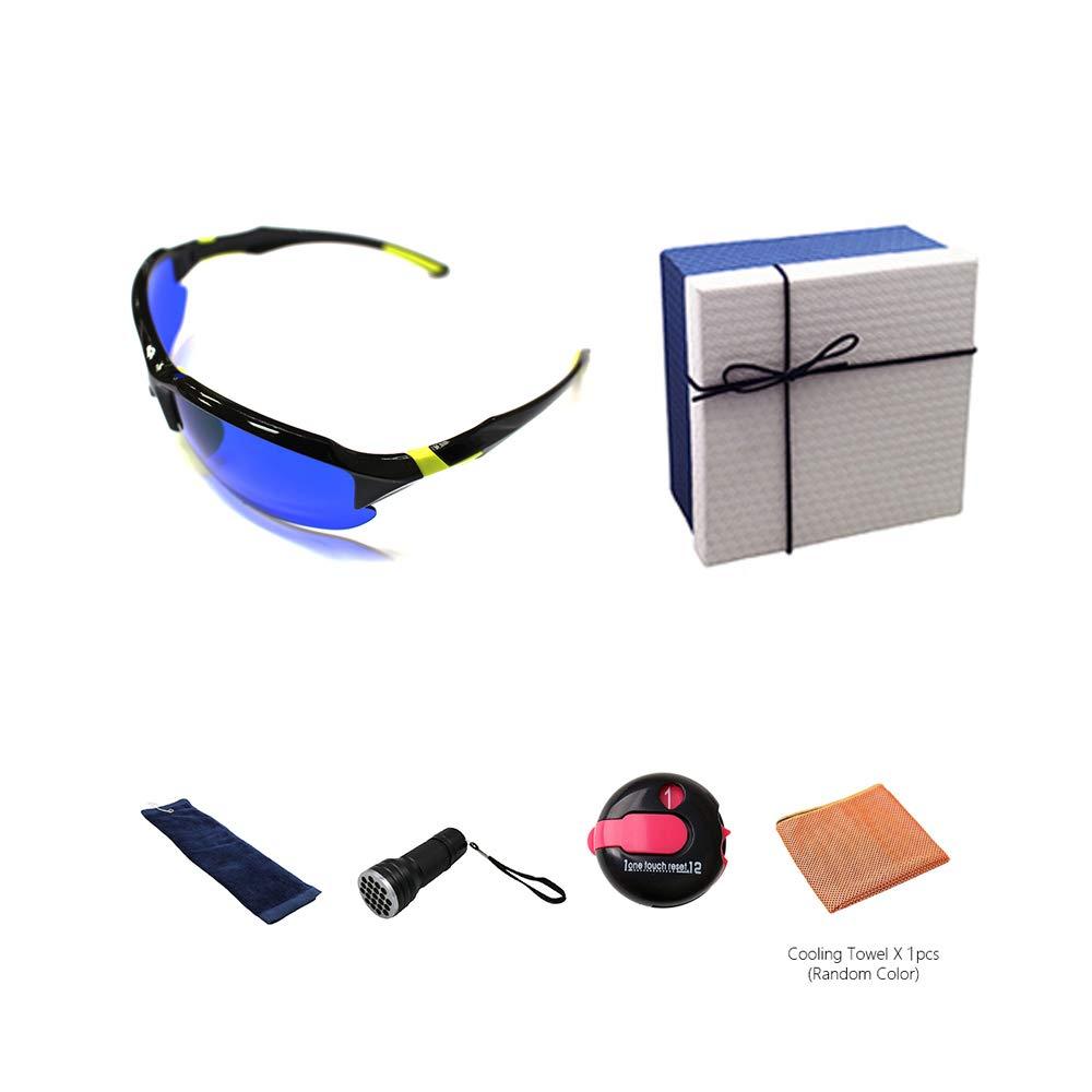 POSMA GS-SGG050A Golfballfinder Brillen Retriever Geschenkset inkl. UV Golfball Finder Taschenlampe Golfball Reinigungstuch Kühltuch und One Touch Reset Strichzähler in eleganter Geschenkbox