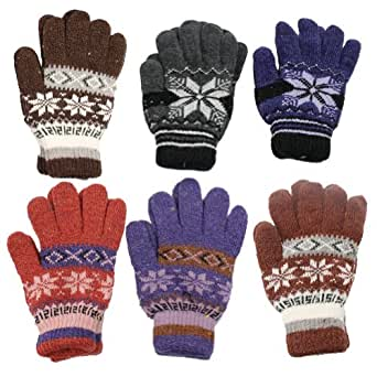 6 Pairs Assorted Patterns/Colors Unisex Double Layered Gloves