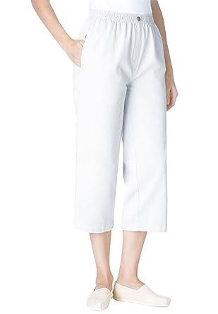 Women's Plus Size Petite 100 Cotton Comfort Pull On Capri Jean at ...