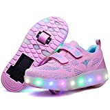 Nsasy Roller Shoes Girls Boys Wheel Shoes Kids Roller Skates Shoes LED Light Up Wheel Shoes for Kids for Kids for Children