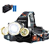 BoJo 4 Modes 3 Cree LED XM-L2 T6 8000 Lumens headlight Rechargeable headlamp Zoomable Waterproof Head Torch Flashlight for Riding Fishing Hunting travel