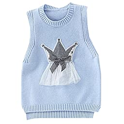 Mactery Girls Cotton Sweater Knitted Vest 2-6 Years 6 Blue