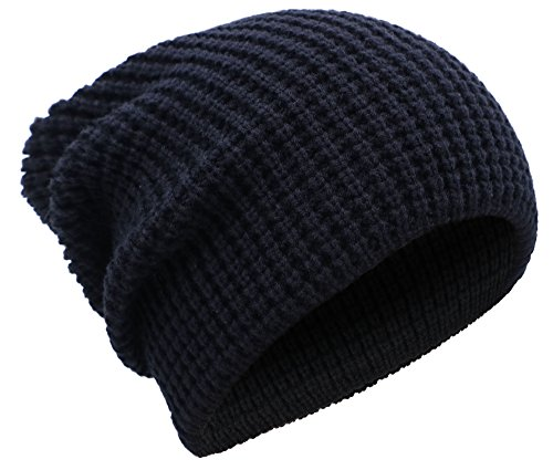 Livingston Winter Thick Knit Slouchy Fit Outdoors Mens Ski Beanie Hat, Black (Knit Winter Ski)