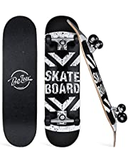 BELEEV Skateboards, 31 x 8 inch Complete Skateboard for Beginners, 7-Ply Canadian Maple Double Kick Deck Concave Cruiser Trick Skateboard for Kids Teens & Adults, with All-in-One Skate T-Tool