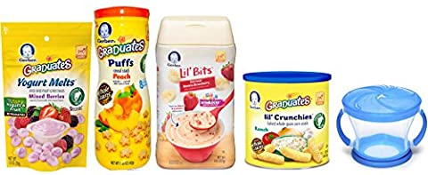 Gerber Baby Food Variety Pack of 5 - Puffs, Melts, Lil Bits Cereal, Lil Crunchies and Snack Catcher - Gerber Toddler Bib