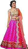 Gloxi Fashion Women's Pink Banglory Silk Lehenga Choli (GL_Pink_Free_Size))