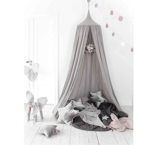 Mosquito Net Canopy, Cotton Canvas Dome Princess Bed Canopy Kids Play Tent Mosquito Net Children's Room Decorate for Baby Kids Indoor Outdoor Playing Reading (Grey)