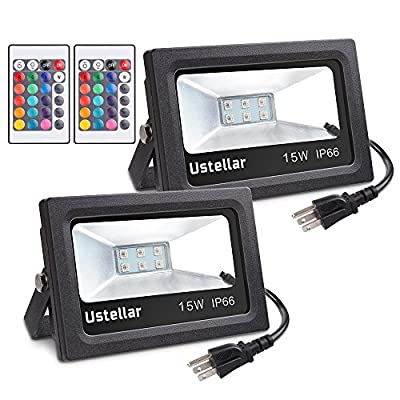 Ustellar RGB LED Flood Lights, Outdoor Color Changing Lights With Remote Control, IP66 Waterproof 16 Colors 4 Modes Dimmable Wall Washer Light, Security Light, Stage Lighting with US 3-Plug