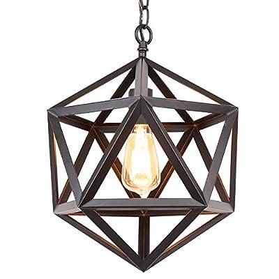 "Industrial Retro Chandeliers Vintage Pendant Light,Antique Black Polyhedron Pendant Lamp,12"" Industrial Black Wrought Iron Metal"