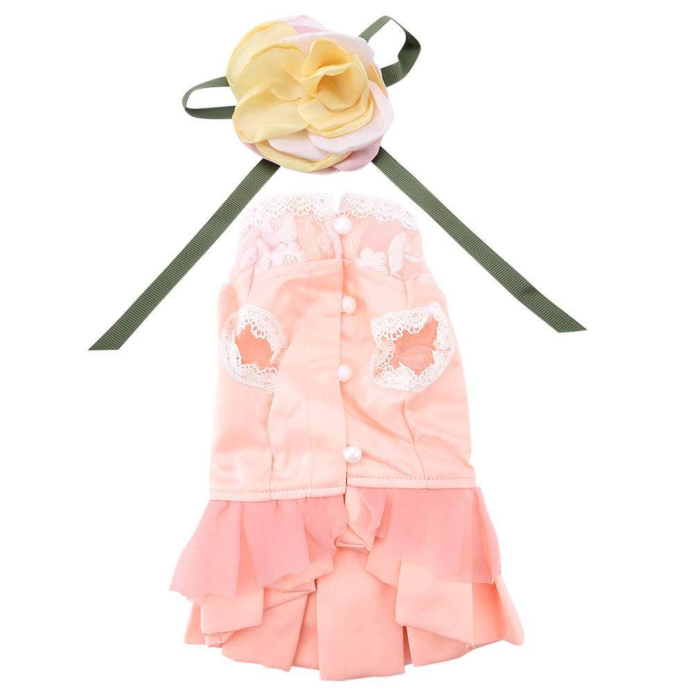 Pssopp Pet Summer Princess Dress Dog Luxury Lace Festival Dress Dog Bride Tutu Falda Sweet Flower Bowknot Vestido para Perro Gato(L)