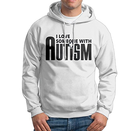 ZW&LC Men's I Love Someone With Autism Cotton Pullover Tops Cozy Sport Outwear by ZW&LC