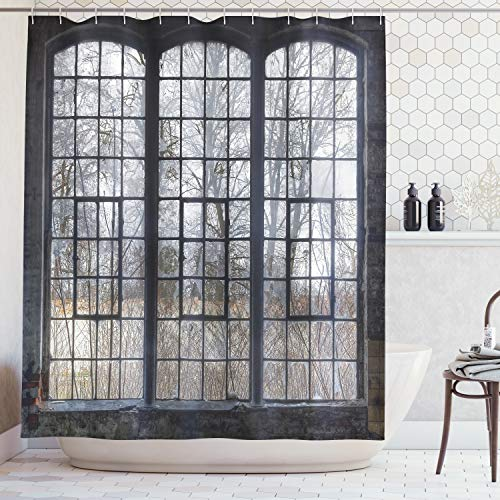 Ambesonne Industrial Decor Collection, Old Large Window with Broken Panes in a Deserted Hall near Forest Trees Winter Time Style, Polyester Fabric Bathroom Shower Curtain, 84 Inches Extra Long, Grey ()