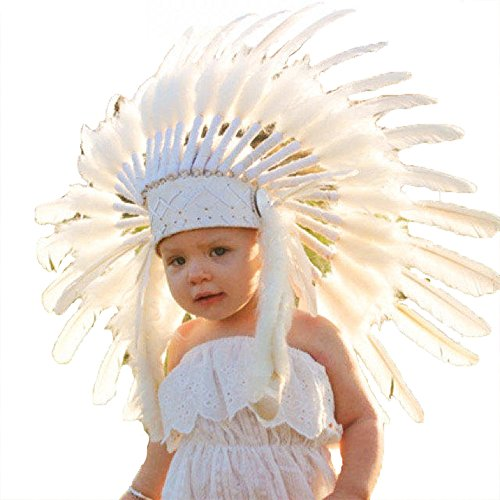 Halloween Costumes For 11-13 Year Olds (N14- From 5-14 years Kid / Child's: Indian white swan feather Headdress)