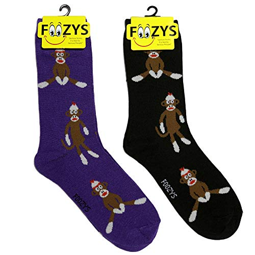 Colorful Sock Monkeys - Foozys Women's Crew Socks | Sock Monkey Animal Themed Novelty Socks | 2 Pair