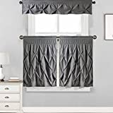 Sweet Home Collection Pinch Pleat Kitchen Curtain Window Treatment Choice 36″, 24″ Tier And Valance Kit, Gray