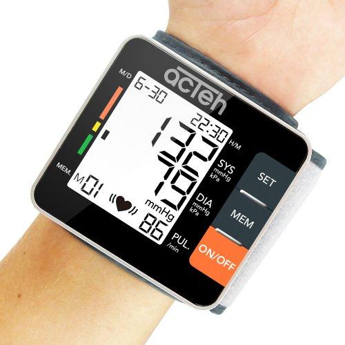 Wrist Blood Pressure Monitor avec la santé cardiovasculaire et l'hypertension indicateur, la fréquence du pouls et grand écran LCD avec rétro-éclairage LED