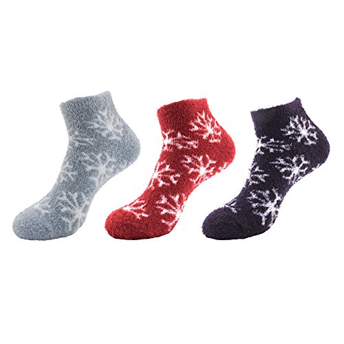 Women's Feather Yarn Super Soft Warm Fuzzy Comfy Home Anklet Ankle Socks - 3 Pairs, Assortment D