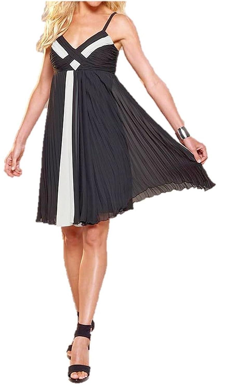 APART Chiffon-Kleid Cocktail-Kleid Plissee-Kleid schwarz-weiß günstig