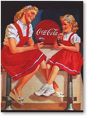 Coca-Cola, Mother and Daughter at the Coca-Cola Bar. Vintage Advertising Reproduction Poster
