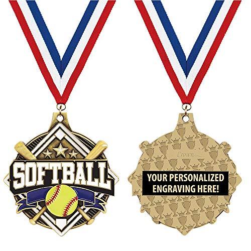 Crown Awards Custom Softball Medals, 2 1/4