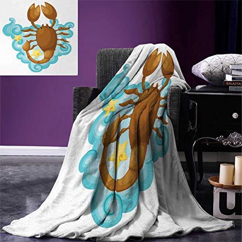 "Zodiac Scorpio Throw Blanket Cartoon Style Horoscope Design for Kids Clouds and Stars Velvet Plush Throw Blanket 60""x50"" Pale Brown Pale Blue Yellow"