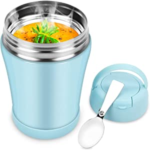 Soup Thermos for Kids,12oz Wide Mouth Thermos Food Jar with Spoon,Leak Proof Food Flask,Stainless Steel Vacuum Insulated Lunch Container,Small Thermal Bento Lunch Box for Hot Food (Light Blue)