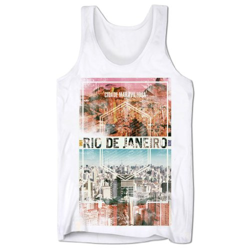 (Men's Graphic Tank Top Rio Brazil Sleeveless Tee Shirt White M )