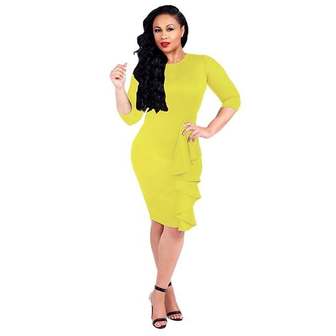 scaling BUSIM Women s Dress Maxi Dresses O-Neck 3 4 Sleeve Knee Length Dress 224ab7e74