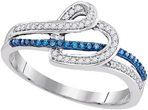 10kt White Gold Womens Round Blue Colored Diamond Heart Ring 1/5 Cttw