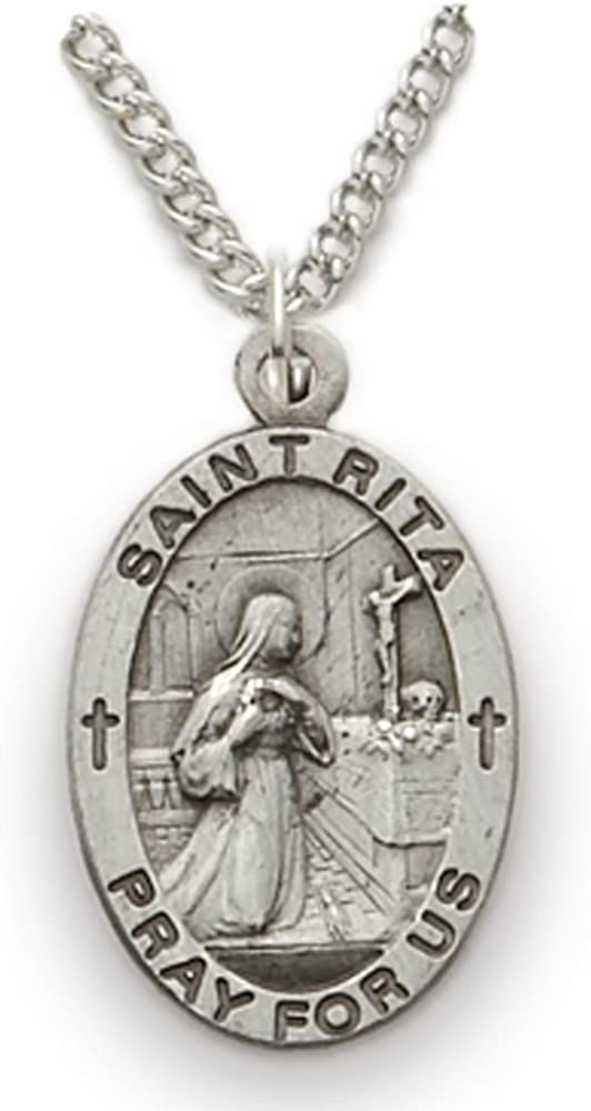 1 1//4in Oval 0.925 Sterling Silver St Saint Christopher Medal Pendant Necklace