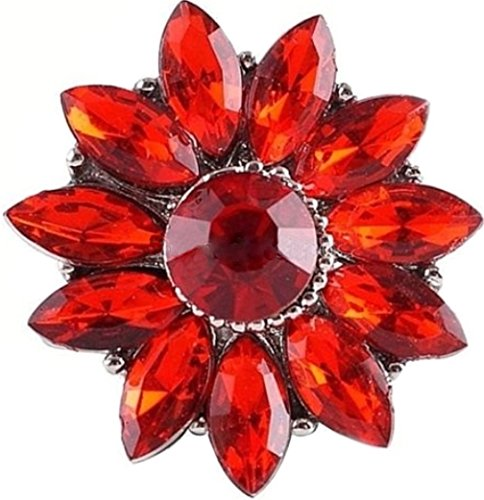 Rockin Angels Red Flower Rhinestone 20mm Snap Charm Interchangeable Jewelry For Ginger ()